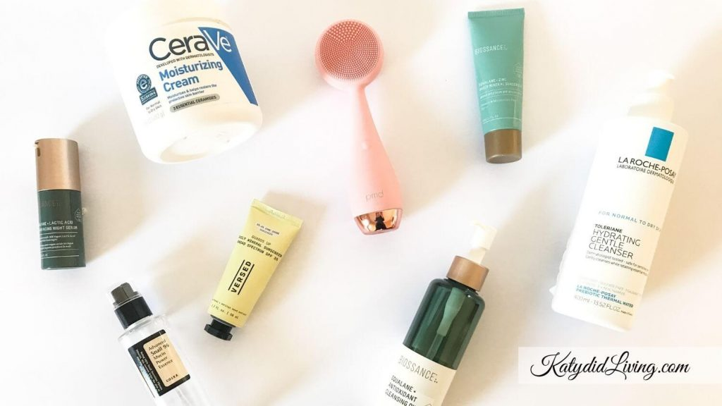 2020 Favorite Skincare Products - bottles of products mentioned throughout post.