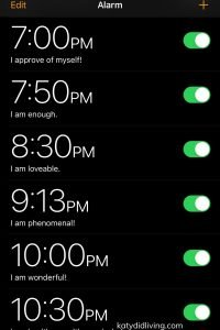Image of phone alarms with labels changed to affirmations.