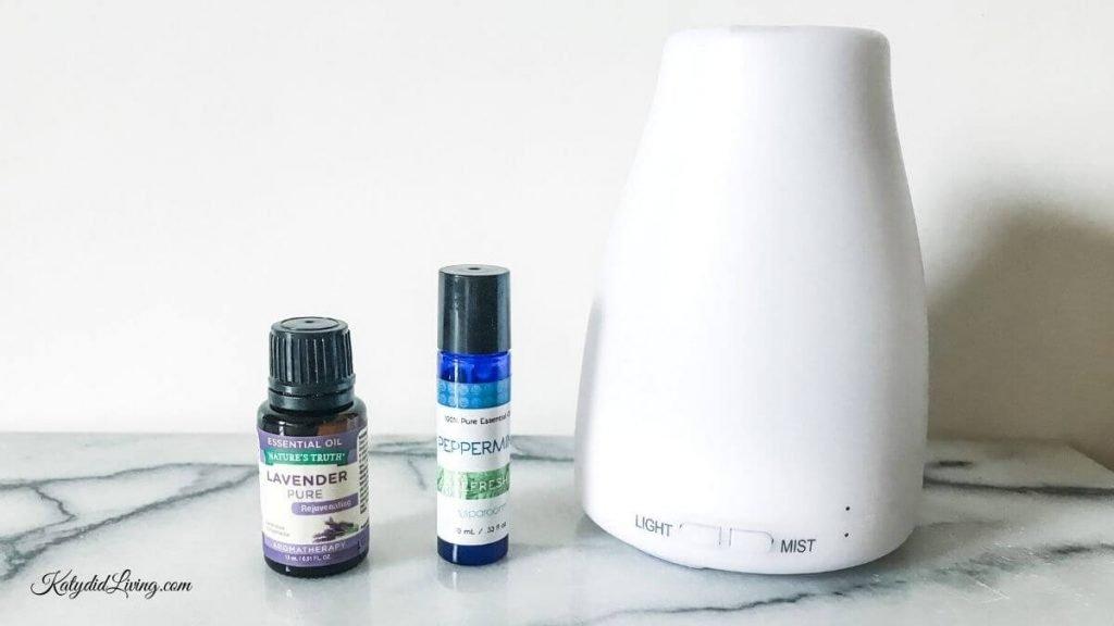 Small white diffuser, lavender essential oil, peppermint essential oil.