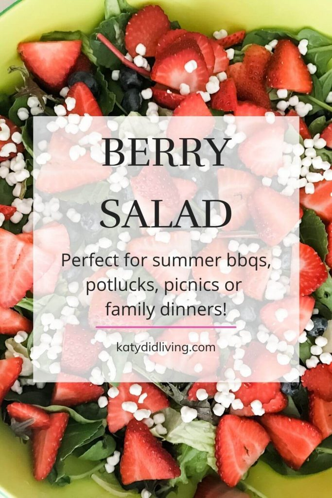 Berry Salad pinterest image- text over photo of finished salad- greens topped with berries and goat cheese.