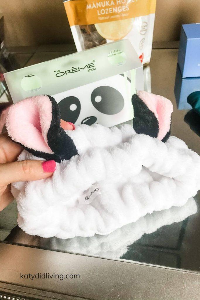 (tj maxx haul) close-up of fluffy spa headband with panda ears.