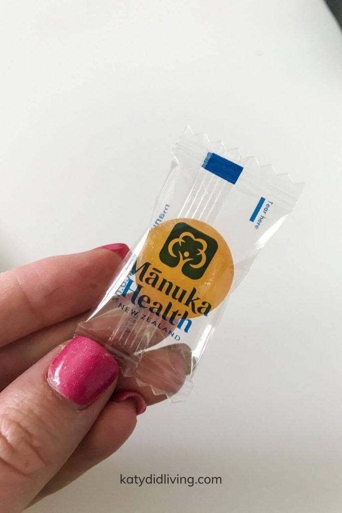Close-up of a manuka honey lozenge.