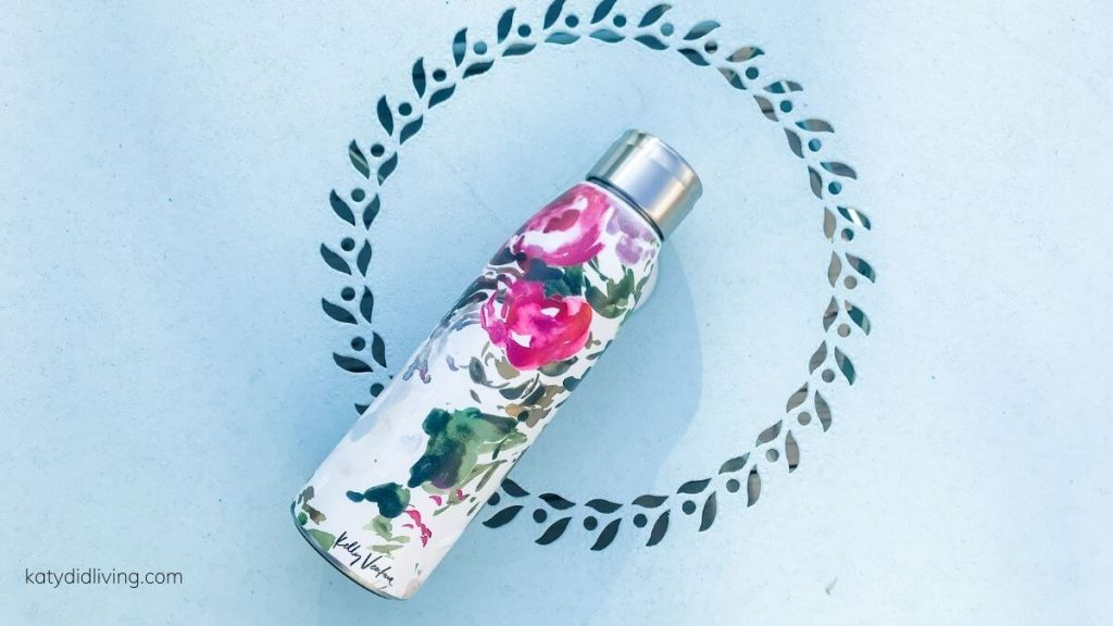 Water bottle with floral design.