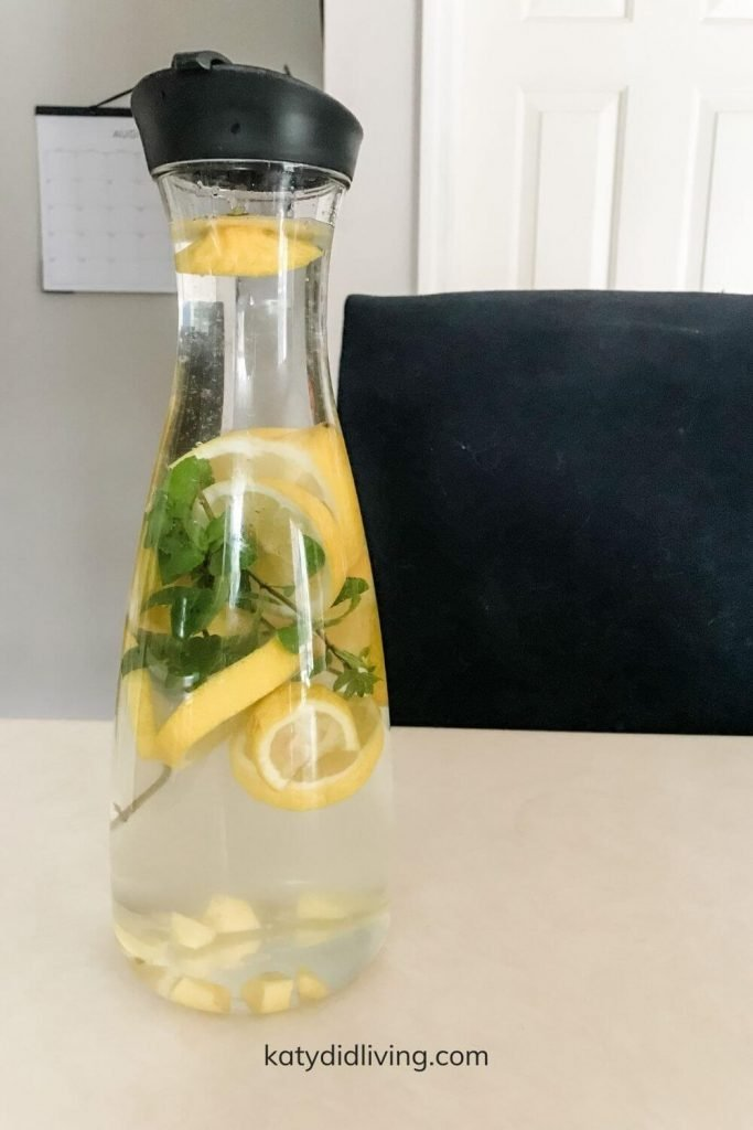 Pitcher of water infused with lemon, mint and ginger.
