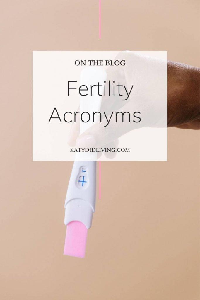Fertility Acronyms Pinterest Image. Woman's hand holding positive pregnancy test.