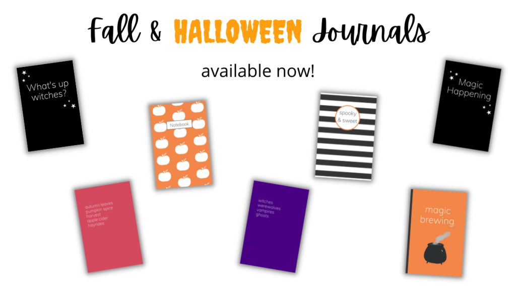 Fall and Halloween journal notebook designs.